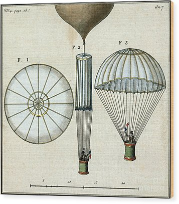 Andre Jacques Garnerins Parachute 1797 Wood Print by Science Source