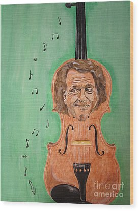 Wood Print featuring the painting Andre Rieu And His Violin by Jeepee Aero