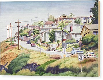 Andrews Street Mission Hills Wood Print by Mary Helmreich