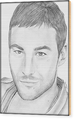 Andy Whitfield  Wood Print by Saki Art