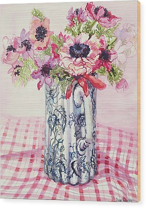 Anemones In A Victorian Flowered Jug Wood Print by Joan Thewsey