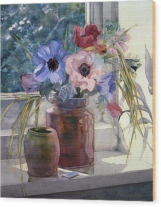 Anemones Wood Print by Julia Rowntree