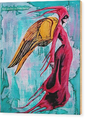 Angel 1 Navigating Ether Wood Print by Maria Huntley