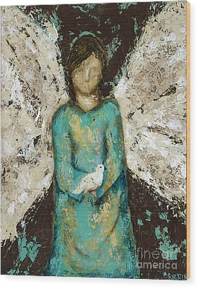 Angel  And  Dove Wood Print