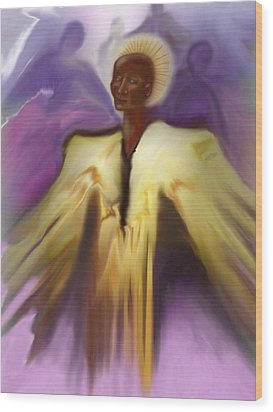 Angel And Guides Wood Print by Linda Marcille