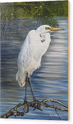 Angel At Sylvia's Pond Wood Print by Phyllis Beiser