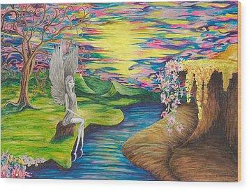 Wood Print featuring the mixed media Angel Fairy by Yolanda Raker