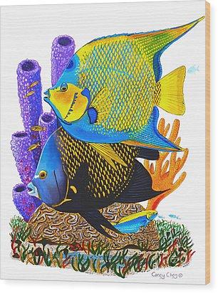 Angel Fish Wood Print by Carey Chen