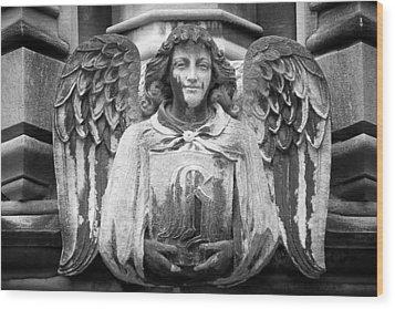 Angel Gargoyle University Of Chicago Wood Print by Joseph Duba