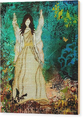 Angel In The Garden Inspirational Abstract Mixed Media Art Wood Print by Janelle Nichol