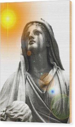 Angel In The Garden Wood Print by Scott Ware