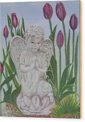 Wood Print featuring the painting Angel In The Garden by Sharon Schultz
