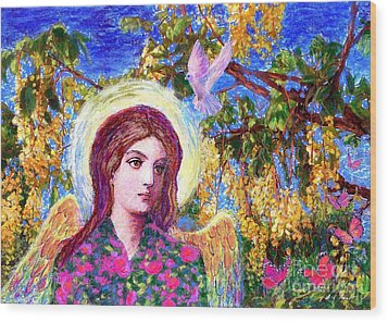 Angel Love Wood Print by Jane Small