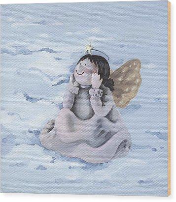 Angel Wood Print by Natasha Denger