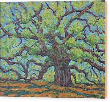 Wood Print featuring the painting Angel Oak Impression by Dwain Ray