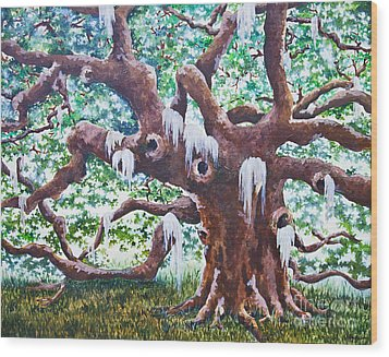Wood Print featuring the painting Angel Oak by Melissa Sherbon