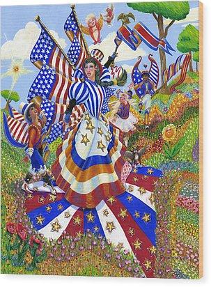 Angel Of American Patriotism Wood Print by Jacquelin Vanderwood