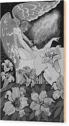Wood Print featuring the digital art Angel Of Death Vision by Carol Jacobs