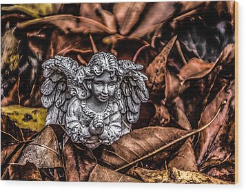 Angel Of Fall Wood Print by Ray Congrove