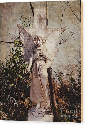 Angel Of Old Wood Print by Sonja Quintero