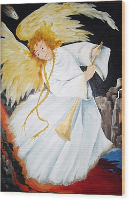 Wood Print featuring the painting Angel Of The Apocalypse by Ellen Canfield