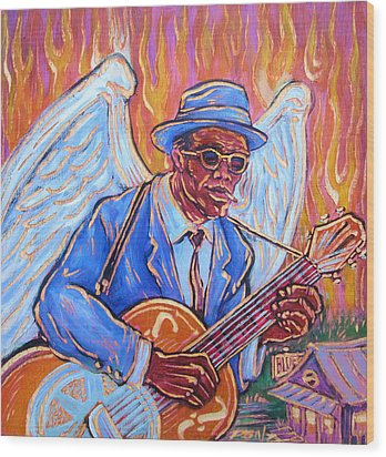 Angel Of The Blues Wood Print by Robert Ponzio