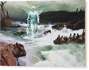 Angel Of The Storm  Wood Print by Lianne Schneider