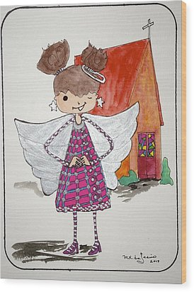 Angel Or- Wood Print by Mary Kay De Jesus