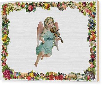 Angel Playing The Lute Wood Print by Munir Alawi