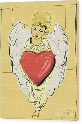 Angel Red Heart Wood Print by Go Van Kampen