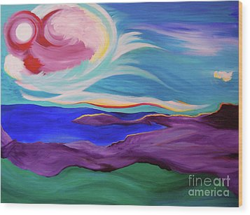 Wood Print featuring the painting Angel Sky by First Star Art