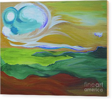 Angel Sky Green By Jrr Wood Print by First Star Art