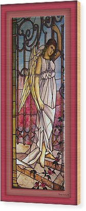 Angel Stained Glass Window Wood Print by Thomas Woolworth