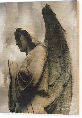 Angel Wings Praying - Spiritual Angel In Clouds Wood Print by Kathy Fornal