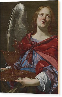Angel With Attributes Of The Passion Wood Print by Simon Vouet