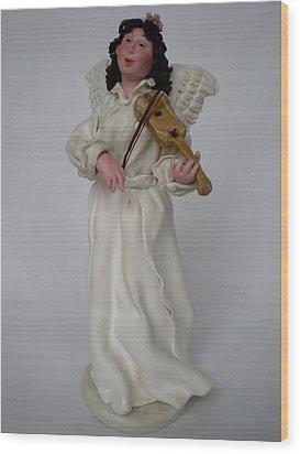 Angel With Violine Wood Print by Natalia Elerdashvili