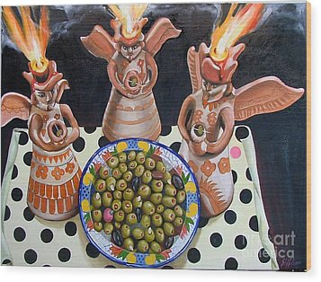 Angelas De Tapas Wood Print by Shelley Laffal