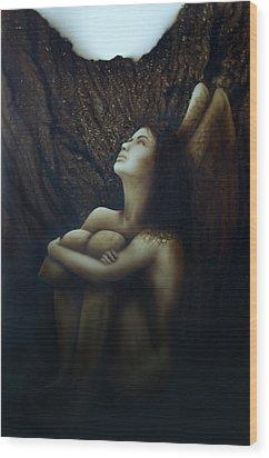 Angelcaido Wood Print by Moises Hergueta
