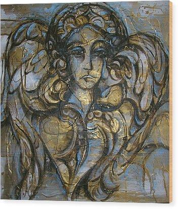 Angelic Sorrow Wood Print by Julie Lee