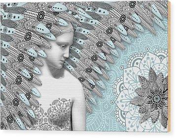Angelica Hiberna - Angel Of Winter Wood Print by Christopher Beikmann