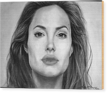 Angelina Jolie Original Pencil Drawing Wood Print by Murni Ch