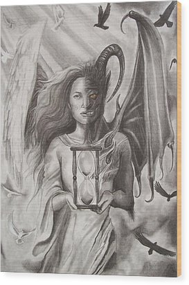 Angels And Demons Wood Print by Amber Stanford