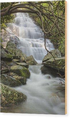 Angels At Benton Waterfall Wood Print by Debra and Dave Vanderlaan