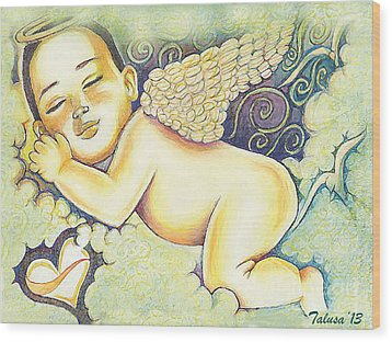 Angels In The Sky Wood Print by Teleita Alusa