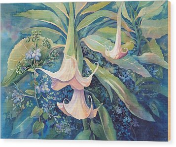 Angels Trumpets II Wood Print by Marilyn Young