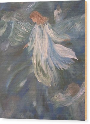 Angels Watching Over Us Wood Print by Christy Saunders Church