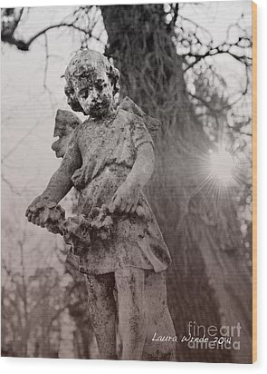 Angels Will Watch Over You Wood Print by Artist and Photographer Laura Wrede