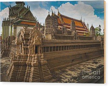 Angor Wat Miniature Wood Print by Inge Johnsson