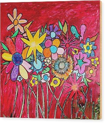 Angry Flowers Wood Print