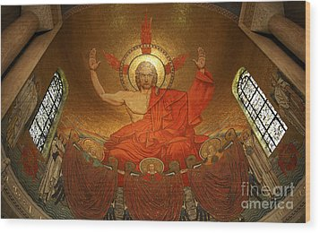 Angry God Mosaic At The Shrine Of The Immaculate Conception In Washington Dc Wood Print